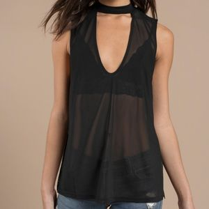 Tobi Tops - (SOLD) Cotton Candy LA Sheer Black Tank, S (NWT)
